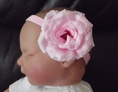 BABY//REBORN DOLL NAVY SATIN POLKA DOT FLOWER HEADBAND