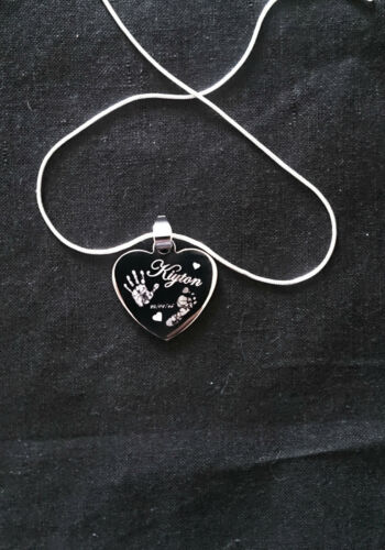Engraved Heart  Finger Hand// Foot Print Jewellery Necklace..