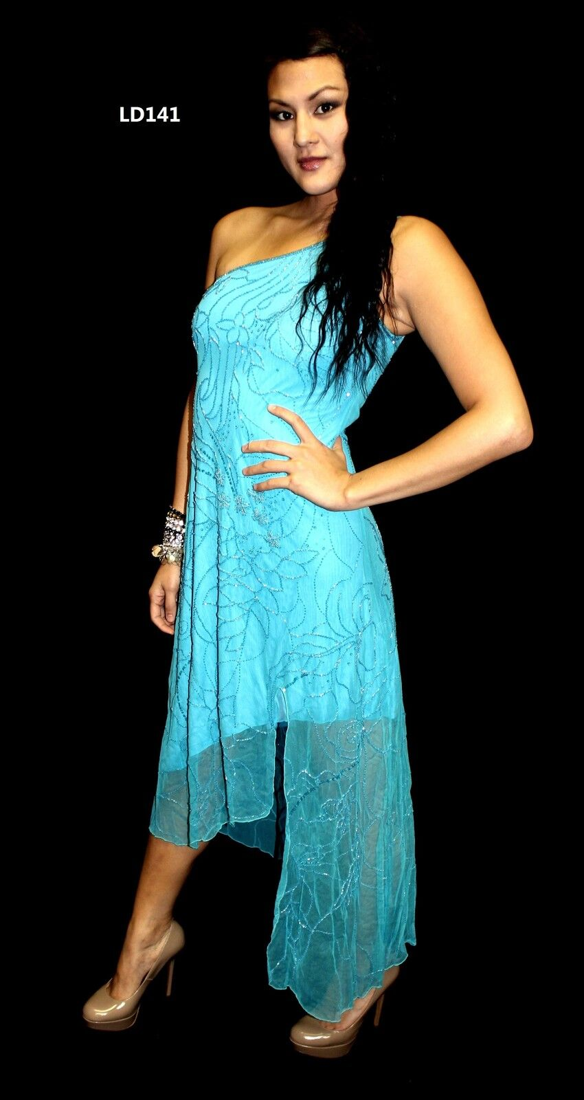 BEAUTIFUL BRAND NEW CACHE HAND BEADED DRESS  W TAGS RETAIL -STRETCH MESH-