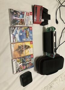 nintendo switch bundle Red And Blue Joy-con + Accessories💥 Carrying Case💥
