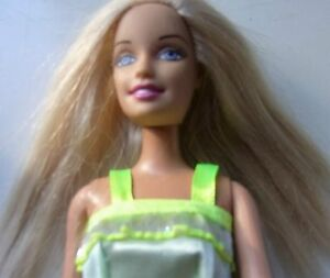 Barbie doll long blonde hair new green dress and new gold shoes