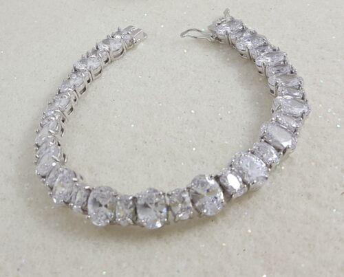 18K White Gold Filled Stylish Italian Diamond 18ct GF Tennis Bracelet 18cm