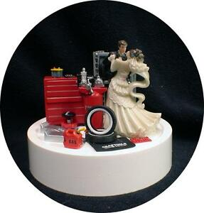 Car AUTO MECHANIC Wedding Cake Topper Bride Groom top Tools FUNNY ...