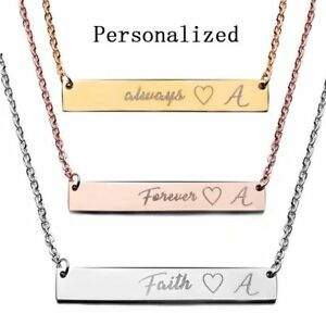 Image is loading Stainless-Steel-Personalized-Name-Bar-Necklace-Custom- Engraved-