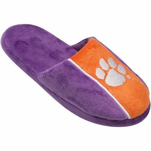Pair of Clemson Tigers Big Logo Stripe Slide Slippers House shoes New STP18