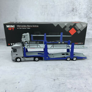MINI-GT-1-64-Scale-Mercedes-Benz-Actros-w-Car-Carrier-Tralier-Diecast-Car-Model