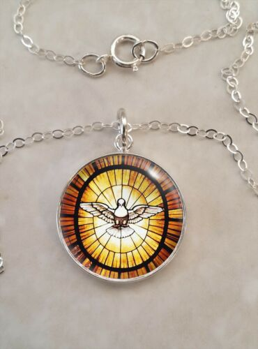 Sterling Silver 925 Pendant Necklace Peace Dove Stained Glass Image