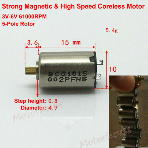 10mm*15mm DC 3V-6V 61000RPM High Speed 5-Pole Rotor Mini Coreless Motor DIY Toy