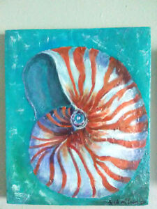 Nautilus-Shell-Original-Acrylic-Painting-8x10-Pressed-Wood-Texture-Coastal-Art