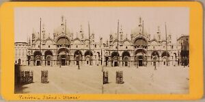 Basilique San Marc Venezia Italia Foto Stereo PL55L2n Vintage Albumina c1875