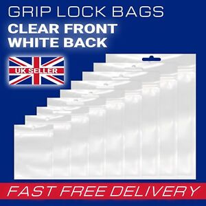 White Strong Grip Plastic Resealable Self Seal Polythene Bags - All Sizes