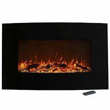 Color Changing Curved Electric Fireplace Wall Mount Stand Remote 36 x 22 Inch