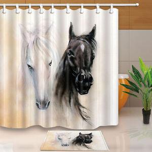 Image Is Loading Black Amp White Horse Decor Waterproof Shower