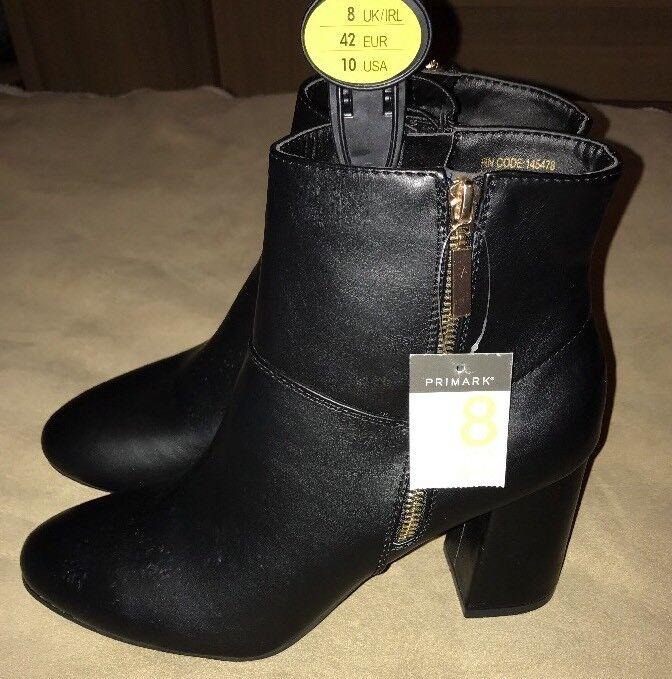 BNWT Ladies Primark Black Heeled Boots. Size 8 Eur 42