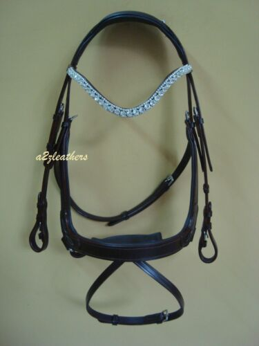 New Brown Anatomical Snaffle Bridle with Flash and hackmore steps in 3 sizes