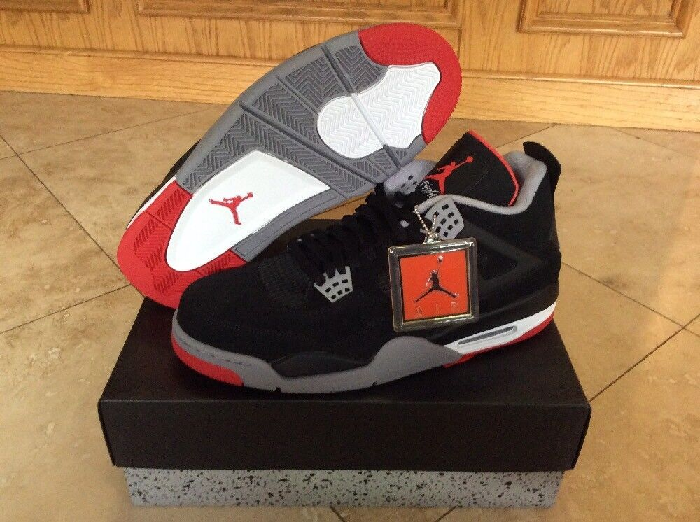 Brand New DS 2012 Nike Air Jordan 4 IV Retro Bred Black Red Size 12