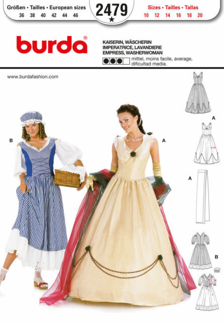 Burda Sewing Pattern 2479 Misses Empress Washerwoman Costumes Sizes ...