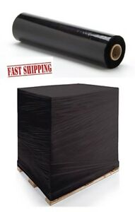 """1 2 3 6 12 18 24 x STRONG QUALITY BLACK PALLET STRETCH WRAP 400mm 16"""" shrink"""