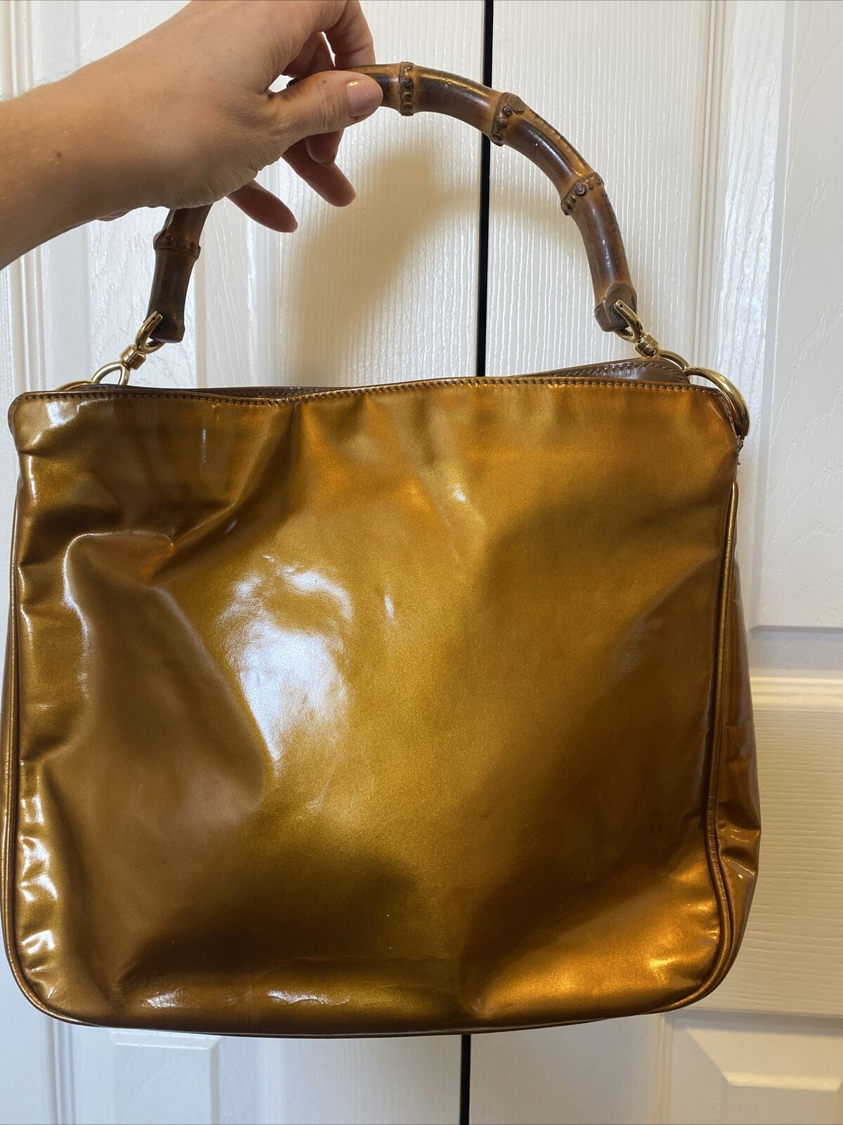 GUCCI COPPER BAMBOO HANDLE BAG VINTAGE DIANA LEAT… - image 3