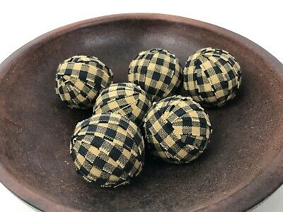 Primitive Small Rag Balls Black Tan Gingham Homespun 1.5 inch Bowl Filler