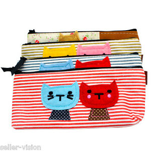 Vintage-Canvas-Cats-Pen-Pencil-Case-Coin-Purse-Pouch-Zipper-Bag-Cosmetic-Makeup