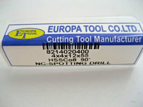 4mm HSSCo8 90 DEGREE NC SPOT SPOTTING DRILL EUROPA TOOL OSBORN 8214020400 D24
