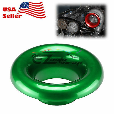"4/"" Green Short Ram Cold Air Intake Turbo Horn Aluminum Velocity Stack Adapter"