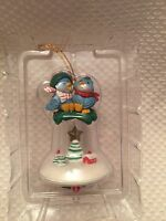 Kirkland Blue Birds On Bell Ornament With Village - Birds- Bell-tree-house -