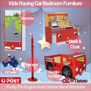 Kids Racing Car Bedroom Furniture Funky Fire Engine Desk Clothes Stand Wardrobe