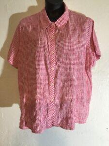 Basic-Edition-Pink-White-Checkered-Women-Top-Shirt-Plus-Size-3X-Cotton-Button