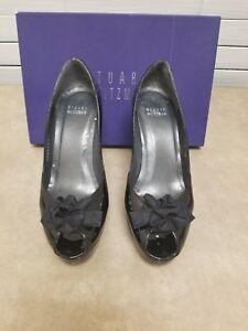 Stuart-Weitzman-Womens-Shoes-Size-7-Black-Patent-Leather-Pumps-Heels-peep-toe
