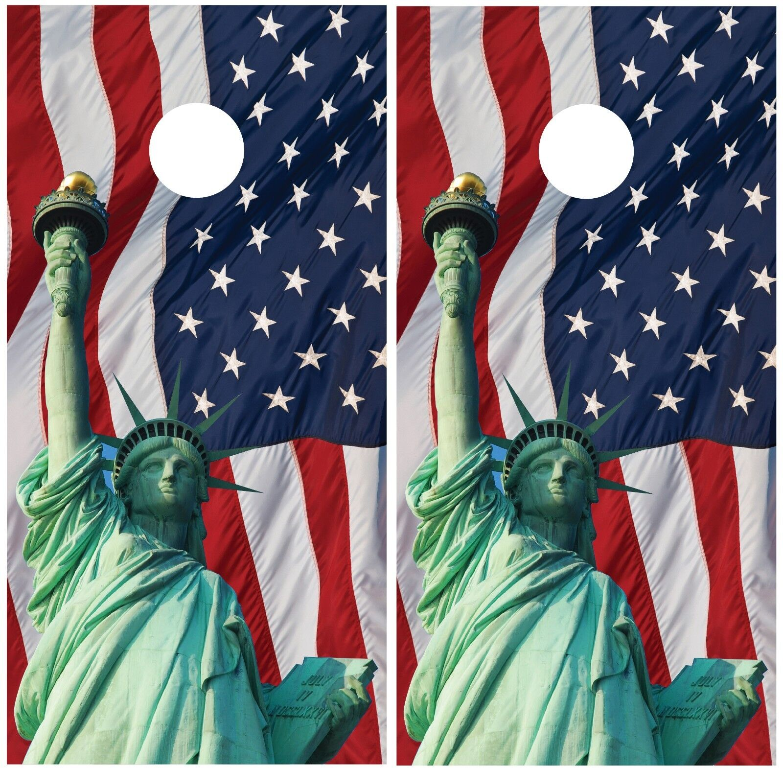 Statue of Liberty  American Flag Cornhole Board Decal Wrap Wraps  looking for sales agent