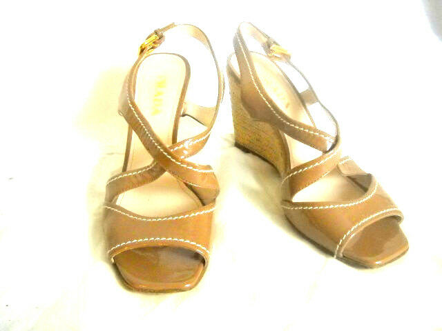 PRADA PRADA PRADA damen Sandals wedge US 6 1 2 EU 36 1 2 M Patent Leather Light braun schuhe 956cc9