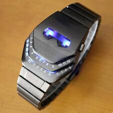 New Fashion Iron Man Stainless Steel Date Digital LED Wrist Watch Watches Black