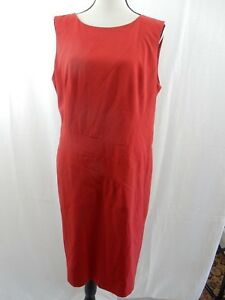 Dress-Barn-Red-Size-14-Sleeveless-Back-Zip-Stitching-Detail-Lined-EUC
