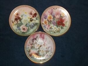 Vintage-1991-W-L-George-Set-Of-3-Lena-Liu-Flower-amp-Butterfly-Collector-Plates