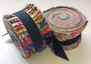 Vintage-Floral-Shabby-chic-light-jelly-roll-cotton-fabric-quilt-strips-2-5-inch