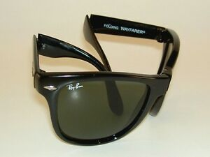 30642074c7b6 New RAY BAN Sunglasses Black FOLDING WAYFARER RB 4105 601 G-15 Glass ...
