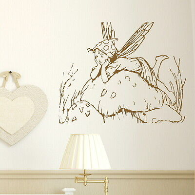 FAIRY on toadstool vinyl wall sticker art decal transfer graphic vinyl larg bn60