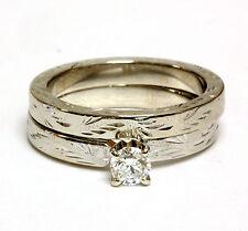 14k white gold .35ct round diamond engagement ring wedding band 6.5g estate set