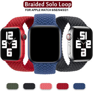 Braided Solo Loop Silicone Strap Soft Band For Apple Watch Series 6 5 4 3 2 1 SE