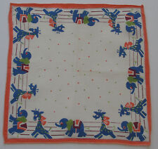 Vintage Child's White Batiste Hankie Elephants & Giraffes Border Polka Dot 1950s