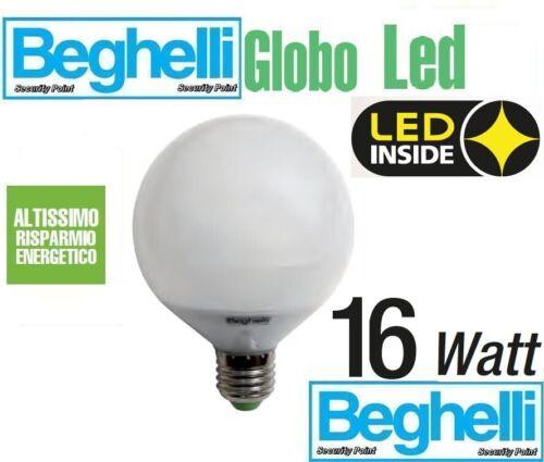 BEGHELLI LAMPADINA GLOBO LED 85/% LED 16W 100 POTENTE E27 3000K LUCE CALDA 1600LM