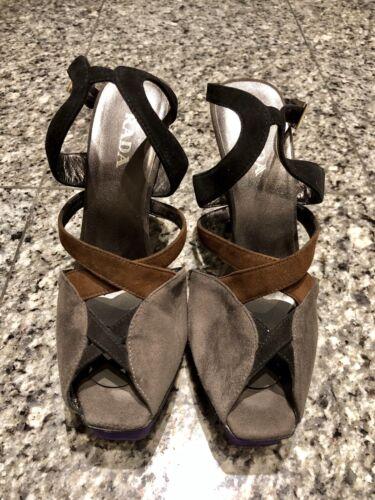 PRADA Suede Color Block Grey Purple Sandals Heels