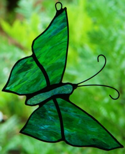 TURQUOISE AQUA GREEN STAINED GLASS BUTTERFLY suncatcher CUS MADE LEADLIGHTS