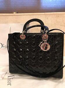 18adb21f59a2 Christian Dior Large Lady Dior Bag In Black Patent Leather W Silver ...