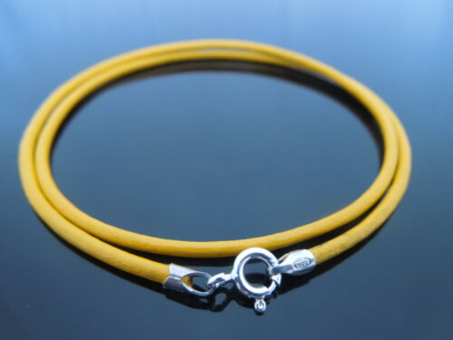 """2mm Yellow Leather /& Sterling Silver Necklace Or Wristband 16/"""" 18/"""" 20/"""" 22/"""" 24/"""""""