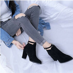 Women-039-s-Winter-Ankle-Boots-Heeled-Ladies-Pointed-Belt-Martin-Boot-Shoes-Zip-New
