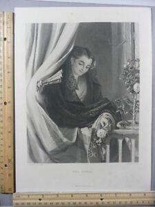 Rare-Antique-Original-VTG-1876-The-Signal-Girl-At-Curtain-Engraving-Art-Print