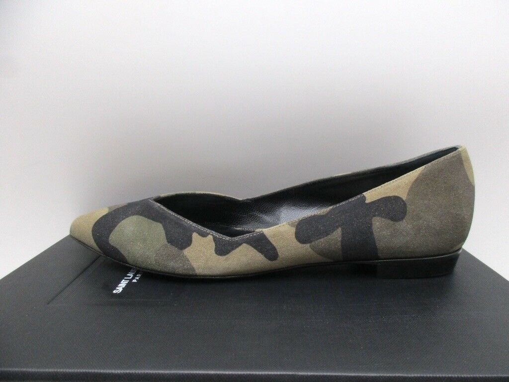 Saint Shoes Laurent Paris 10 Decolette Ballerina Flats Shoes Saint Camouflage Sable 37 7 55d29e
